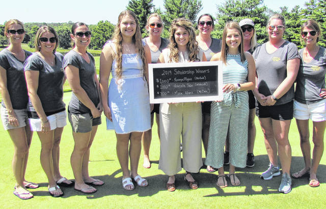 Shown, from left, during Saturday's Shake It Up Golf Tournament at the Hillsboro Elks Club are Erica Morgan, Brittane Dance, Allyce Horne, Gabrielle Tebo, Cegi Boatman, Kamryn Magee, Mary Dixon, Macy Adams, Lindsay Balser, Dara Gullette and Kristy Wilkin. Tebo, Magee and Adams received scholarships from the Hillsboro Jr. Women's Club.