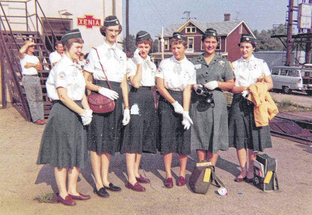 The local girls — from Greenfield, Wilmington, Blanchester and Morrow — at the train station in Xenia 60 years ago.