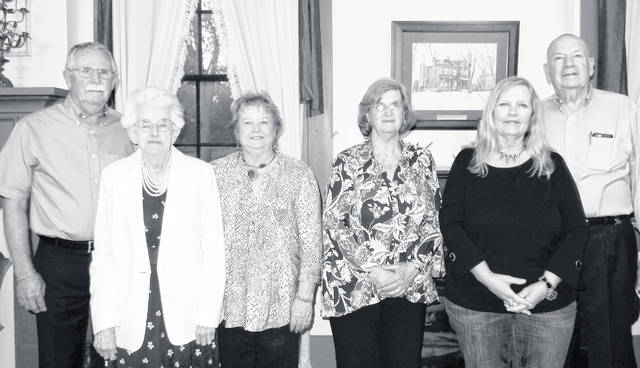 The Southern Ohio Genealogical Society Board of Directions for 2019-20 were elected at the recent annual meeting and First Family banquet. The officers are, from left, Dwight Crum, president; Jean Wallis, member-at-large; Vicki Knauff, first vice president, programs; Pat Young, recording secretary; Rebecca Creamer, corresponding secretary; and Mel Haines, treasurer. Not present were Mary Jo Copeland, second vice president, special projects; and Brenda Johnson, member-at-large.