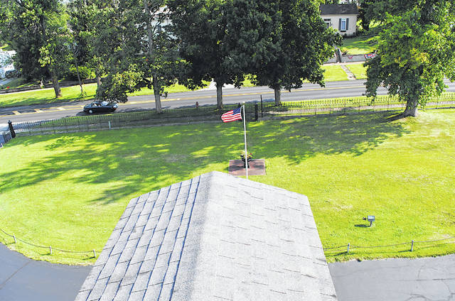 This photo taken Thursday from the roof of the historic Scott House in Hillsboro shows part of the grounds in front of the structure where Highland County Pioneer Day will be held Saturday, Aug. 24.
