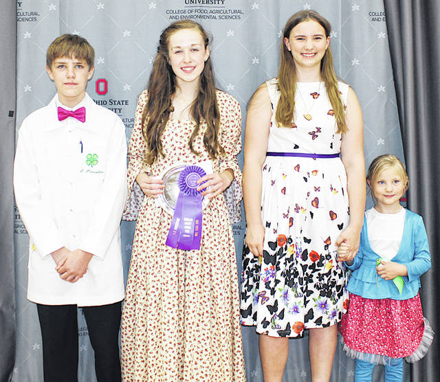 Pictured, from left, are Sam Hamilton, Sydney Hamilton, first place and Ohio State Fair representative Junior, Sew Fun, Highland County Poultry, Pigs & Lambs, Katherine Ogden and Jennie Ogden, Canine Commanders.