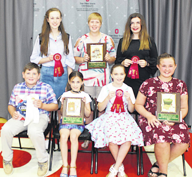 Pictured are (front row, l-r) Connor Yochum, Bright Beginnings Nutrition Award, All About Beef; Aubrey Baldwin, 1st place Junior Outstanding Nutrition Exhibitors, Highland Harvesters; Leah Robinson, 2nd place, Junior Outstanding Nutrition Exhibitors, Marshall Jr. Farmers; Marley Gobin, 1st place, Intermediate Outstanding Nutrition Exhibitors, Concord Jr. Farmers; (back row, l-r) Sydney Hamilton, 2nd place, Intermediate Outstanding Nutrition Exhibitors, Highland County Poultry, Pigs & Lambs; Lana Grover, 1st place Senior Outstanding Nutrition Exhibitors, Marshall Jr. Farmers; Sara Newsome, 2nd place, Senior Outstanding Nutrition Exhibitors, Fab Five.