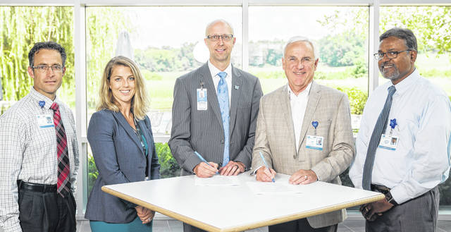 Pictured, from left, are Ty McBee, Adena vice president of business strategy; Kristyn Wasylik, NCH regional development; Darrell Mosby, NCH bicve president, regional development; Jeff Graham, Adena president and CEO; and Dr. Sathish Jetty, Adena pediatrics.