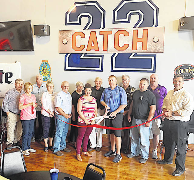 Catch 22 Sports Pub, 250 Jefferson St., Greenfield held a ribbon cutting Aug. 15 in honor of its upcoming five-year anniversary. Owner Mark Clyburn saw the need in his hometown for a place where locals could come together and watch a game and enjoy food and drinks. On their recently expanded menu you will find homemade items like handcut French fries, hand-battered fish and chips, and hand-pattied burgers. With strong ties to the community Clyburn and his partners open to local performers to showcase their talents. On Thursday nights you can hear anything from oldies to originals. On Aug. 24 Catch 22 will celebrate five years as well as the addition of a new kitchen, expanded menu, new outdoor seating, and new hours. There will be local live music on an outdoor stage throughout the evening. Catch 22 can be reached at 937-509-4726.