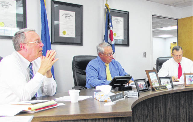 Highland County commissioners Gary Abernathy, Jeff Duncan and Terry Britton are pictured during Wednesday's early afternoon meeting.