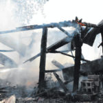 Blaze destroys corn crib
