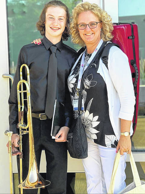 Hillsboro High School senior Gabe Gilliland, left, has been selected for the All-National Honor Ensembles. He is pictured with Dr. Gretchen McNamara, his teacher at Wright State University.