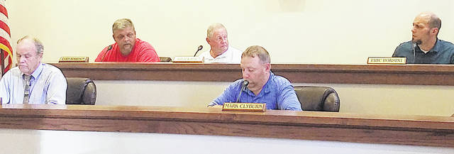 Greenfield council members (l-r) Phil Clyburn, Chris Borreson, Bob Bergstrom, Mark Clyburn and Eric Borsini are pictured during a previous council meeting.