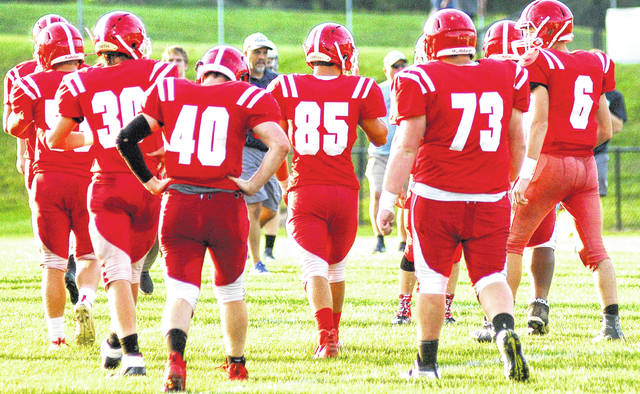 Members of the Hillsboro football team are pictured during a preseason practice.