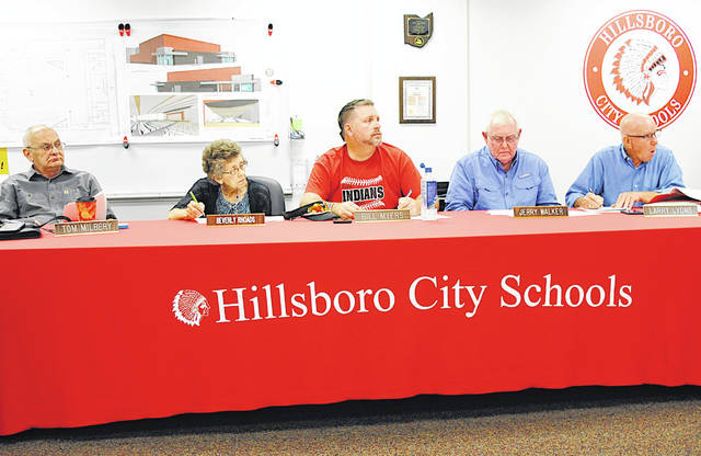 Members of the Hillsboro City Schools Board of Education are pictured at Monday's meeting, from left, Tom Milbery, Beverly Rhoads, Bill Myers, Jerry Walker and Larry Lyons.