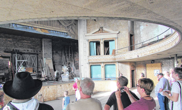 Looking in the direction of C.S. Bell's personal box during Saturday's tour of the opera house that bears his name, historian Max Petzhold said the theatre box was purposed built oversized to accommodate Bell's size.