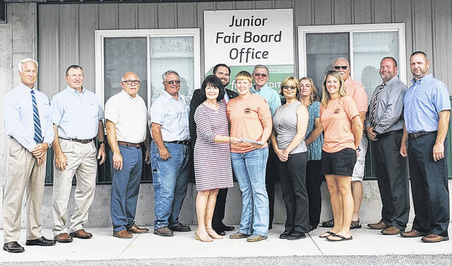 Pictured, from left, are Probate/Juvenile Judge Kevin Greer, Commissioner Terry Britton, Clerk of Courts Ike Hodson, Commissioner Jeff Duncan, GOP Executive Chair Paulette Donley, Highland County Junior Fair President Lana Grover, John Judkins representing Highland County Court Judge Robert Judkins, Auditor Bill Fawley, Prosecutor Anneka Collins, Treasurer Vicki Warnock, Junior Fair Jana Holbrook, Sheriff Donnie Barrera, Recorder Chad McConnaughey and Engineer Chris Fauber. Not pictured are Commissioner Gary Abernathy and Coroner Jeff Beery.