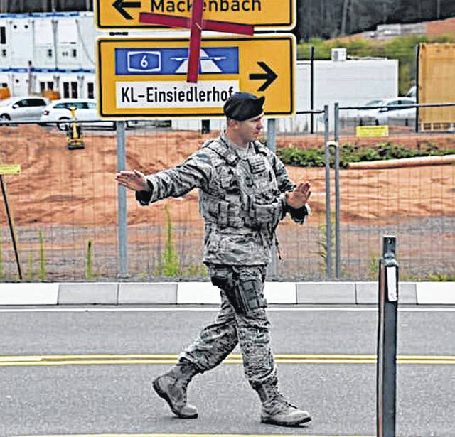 Brandan J. Holliday is pictured during his assignment at the Ramstein Air Base in Germany.
