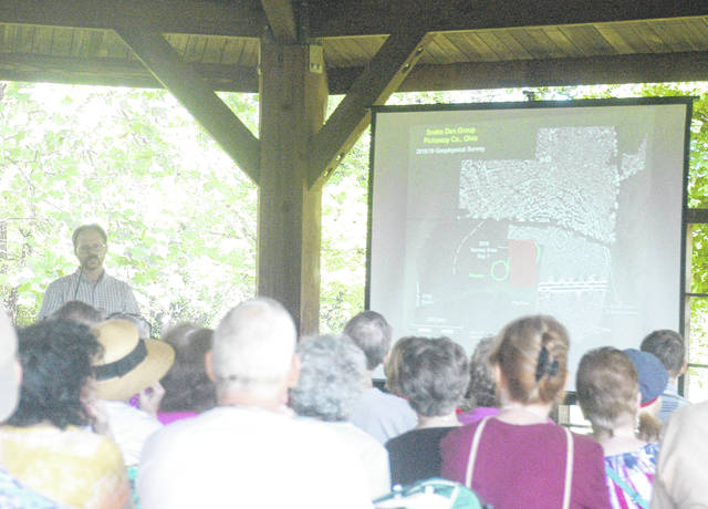 Dr. Jarrod Burks, director of Archaeological Geophysics at Ohio Valley Archaeology, Inc. and an archaeologist who has been searching Southern Ohio for more earthworks like Serpent Mound on the weekends, presents on his research at Archaeology Day.