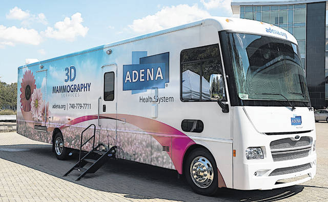 The exterior Adena's new Mobile 3D Mammography Unit is shown in this picture.