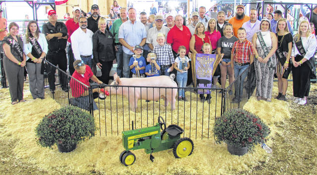 Brady Binegar's Reserve Grand Champion Barrow sold for $31 per pound, for a total of $7,936, Wednesday at the 2019 Highland County Fair. It was purchased by: John and Phyllis Hill, Halterman Equipment LLC, H & R Block Greenfield, Zimmerman Brothers, Newman & Barton Group, McNeal Show Pigs, Southern Hills Community Bank Greenfield, Hartley Oil Co., Stevens Trustworthy Hardware, Merchants National Bank Greenfield, Sponcil Farms - Hay & Straw, Buck's Tire, Costco 384 Wholesale Warehouse, Wagoner's Construction, Greene's Automotive, Community Market Greenfield, Davis Ag LLC, Stewart's Pharmacy, Binegar's Truck, Auto & Camper, Mike and Linda Penn, Fordyce Farms and Southern OH Retro Foam, Ameritanx, Inc., Zach's Towing & Recovery, Miller Mason Paving Company, Jason Davis Family, Murray Fettro Funeral Home, Smitty's Auto Sales, Quality Paving, Diversified Industrial Services, Eagle Excavating LLC and Beatty Farms.