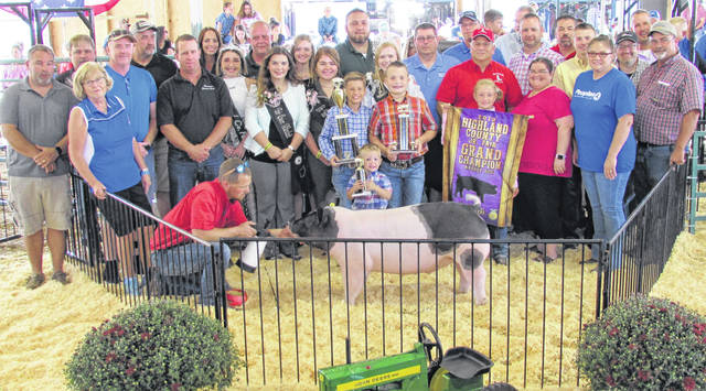 Claire Winkle's Grand Champion Barrow sold for $21 per pound, for a total of $5,670, Wednesday at the 2019 Highland County Fair. It was purchased by: People's Bank; ICAP Crop Insurance; Aluminum Works; Family Farm & Home; Binegar's Truck, Auto & Camper; Ventura's Feed and Country Store; LP Mowing & Mulch; Craig & Ian's Smoked Meats; Arrick's Propane; Weastec, Inc.; Sponcil Farms Hay & Straw; Cade and Noah Sponcil; Merchants National Bank – Hillsboro; NCB; Clark Family Dentistry; Quality Paving; Peters Heating & Cooling, LLC; Chris Fauber, Highland County engineer; Scott Faulconer, State Farm; Tissot's Home Center Faulconer; and Custom Farming.