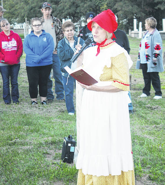 Susan Long appears as one of the ghosts in a recent Ghost Walk in the Old Burying Ground. The Greenfield Historical society's annual Ghost Walk will be held Saturday, Oct. 5, in conjunction with History Day.