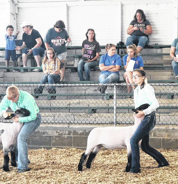 Lan Grover and Hillary Hamilton exhibits her market lamb at the Highland County Fair.