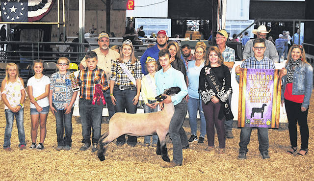 Tyler Boggess sold the 2019 Reserve Champion Market Lamb for $15.31 per pound Friday night at the Highland County Fair. It was purchased by: A-1 Tree Care; Airline Support & Project Engineering LL; Belles Farm Animal Veterinary Services; Buckeye Family Eye Clinic; Innoviator Flight Science; Peters Heating & Cooling LLC; Shaun and Tom Dance Fencing & Excavating; David T. Vanzant DDS Inc.; Faith's Fancy Feeds LLC; and Boggess Beef.