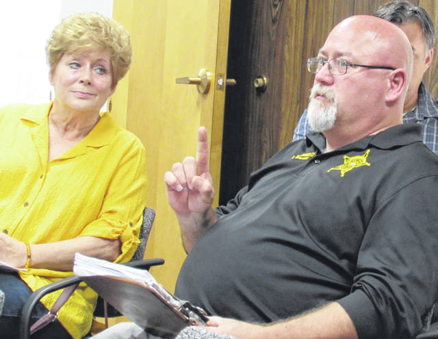 From left, Highland County Dog Pound volunteer Pat Lawrence and Deputy Dog Warden Lanny Brown II present suggestions to remedy problems at the dog pound during Wednesday's county commissioners meeting.