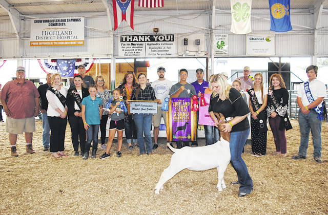 Ashlie Hillyer's 2019 Grand Champion Boar Market Goat and Outstanding Market Exhibitor sold for $27 per pound Friday at the Highland County Fair. It was purchased by: American Way Tax & Accounting; Buckeye Denistry-Joesph Jordan DDS; Color Me Crazy; Cundiff's Tree Care; Evolve Strength and Conditioning; Gibbs & Associates Insurance; JK Precast; Larry & Marsha Miller; Service Master; St. Clair Farms; Turner & Sons Funeral Home; VFW Post 9094; West Wind Property Maintenance; and Jim Mootz Trucking.