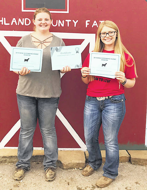 Pictured, from left, are Kelcie Thornburgh and Ashlie Hillyer holding their rewards.