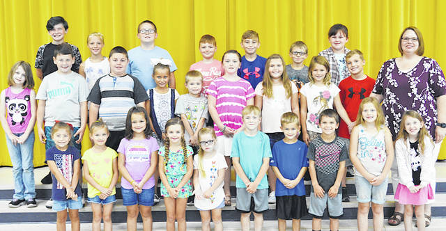 The following children were chosen as Students of the Month at Lynchburg-Clay Elementary for September. The students were chosen by their teachers for displaying positive behavior, being responsible and respectful, doing good deeds as well as their school work, and for being a positive role model to others. Pictured are (front row, l-r) Addelynn Osborn (K), Emslee Harmon (K), Paxtyn Hubbard (K), Adalyn Oberrecht (K), Emma Hurley (PK), Andrew Gossett (1), Lukas Fields (1), Xyler Ward (1), Kylie Jenkins (1) and Brooke Davidson (1). (second row, l-r) Scarlett Jenkins (2), Maverik Berry (2), Jenna Doughman (2), Cameron Campbell (2), Bailey Henderson (3), Taylor Henderson (3), Riley Markey (3), Landen Saylor (3) and Mrs. Godby (Principal). (third row, l-r) Annie Keaton (5), Baylee McClain (5), Kolton Dumpert (5), Wesley Herbert (4), Brayden Quarles (4), AJ Brown (4) and Clara Carraher (4). Absent from picture: Gage Wells (PK) and Trevor Niehaus (5).