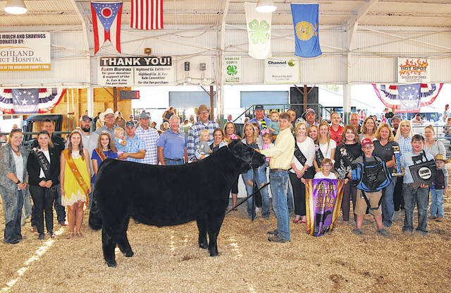 Caden Hess sold the 2019 Grand Champion Market Steer & Grand Champion County Born & Bred Market Steer for $7.35 per pound Friday at the Highland County Fair. It was purchased by: A-1 Tree Care; Barrera's Garage; Barry's Auto Group; Baxla Tractor Sales; Bohrer Veterinary Services; Christopher Lewis CPA; Edgington Funeral Home; Family Farm & Home; Farm Credit Mid-America; Don Fender Realty; Dean and Marilyn Fender; First State Bank; Hamilton Cattle; Hawk Family Farm; Heskett Insurance; Hess Auction Co. & Hess Family Cattle; Hess, Glenn and Joyce; Higgins Steel Roofing; Highland County Press; Hillsboro Larosa's; Holbrook Farms Seed & Chemical Sales; David and Lesia McKenna; Merchants National Bank - Hillsboro; Morris & Son's Farm Equipment LLC; Rent-2-Own Hillsboro; S & K Dairy Cup: Sibrel Excavation Co., Inc.; Tissot's Home Center; Ventura Feed and Country Store; Drs. Williams, McConnaughey & Ballard; Holman Motors Inc.; First Stop Gas; Cochran Farms; and Windy Brick Farms.