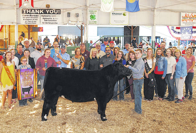 Carter Boyd's 2019 Reserve Champion Market Steer sold for $6 per pound Friday at the Highland County Fair. It was purchased by: A-1 Tree Care; Barry's Auto Group; Bohrer Veterinary Services; Buckeye Family Eye Clinic; Cork Equipment & Construction; Hess Auction Co. & Hess Family Cattle; Magulac Tire Service; McDonald's - Greenfield (RHF Enterprises); Merchants National Bank - Hillsboro; NCB; Newman Barton Group; Ohio Asphaltic Limestone; Ohio Valley Veneer; Peters Heating & Cooling LLC; Reno's Auto Parts; Tissot's Home Center; Yochum Family Cattle - Fred and Barbara; Boggess Beef; George and Paula Dumm; and Sunfish Valley Outdoors LLC.