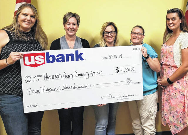 Shown from left, Tara Pendell, Kelly Sockman, Sara Fife, Laura Bosier and Samantha Barr of US Bank recently presented a check for $4,300 to the Highland County Community Action Organization Inc. to help empower individuals and families through opportunities and support to achieve self-sufficiency.