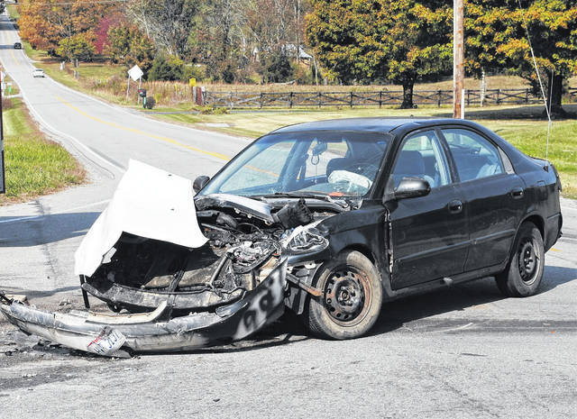 A Kia Spectra driven by Autumn Curlonis of Hillsboro sustained severe damage in Monday's two-vehicle crash at the intersection of Willetsville Pike and Pea Ridge/Fenner Road.