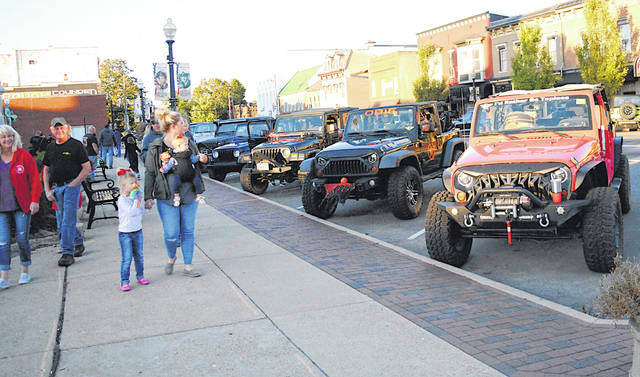 Some of the estimated 100-plus jeeps that lined Hillsboro's uptown streets Friday evening are shown in this picture.