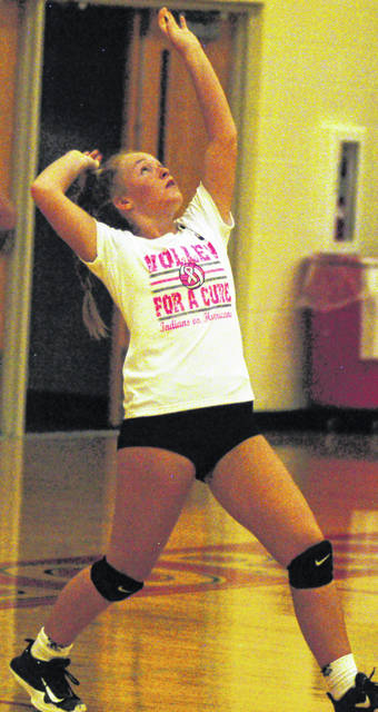 Hillsboro's Julie Middleton serving the ball in photo shown above
