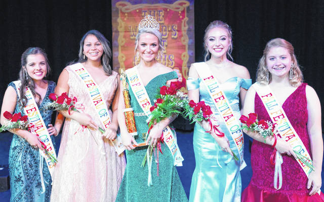 Phoebe Cockrell, center, the 52nd Fall Festival of Leaves Queen, is pictured above with her 2019 attendants. Pictured, from left, are Marissa Prince, first runner-up from Paint Valley High School; A'mya Wingfield, second runner-up from Unioto High School; Cockrell from Huntington High School; Samantha Truitt, third runner-up from Unioto High School; and Alyson Murphy, fourth runner-up from McClain High School.