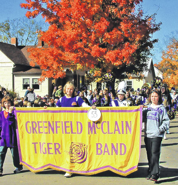 Members of the McClain Marching Band participate in a past Fall Festival of Leaves Parade in Bainbridge. This year's parade starts at 2:30 p.m. Sunday.