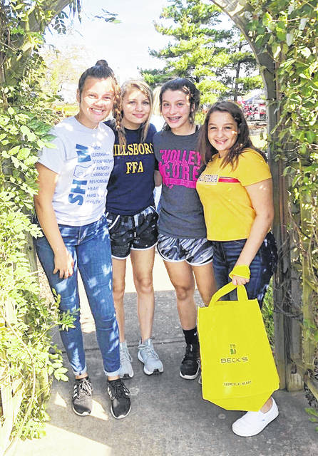 Pictured, from left, are Allie Crago, Faythe Crabtree, Kinsey Gilliand and Kenzie Pointer at the Farm Science Review near London.