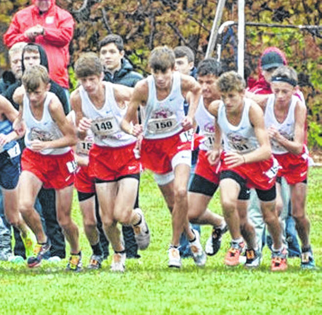 The Fairfield Lions are shown at the start of last Saturday's regional cross country meet in Pickerington.