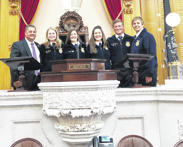 From left are state Rep. Shane Wilkin, Katie Craig, Alora Brown, Loraleigh Mayhan, Joe Helterbrand and Ben Florea.