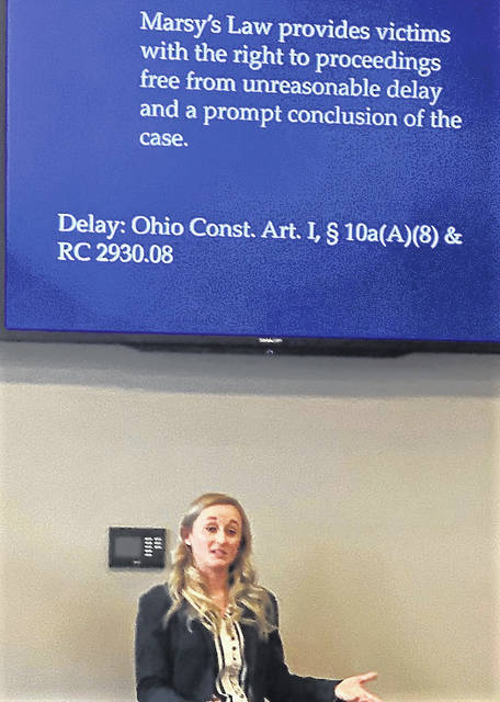 Ohio Crime Victim Justice Center attorney Morgan Keilholz presents facts regarding Marsy's Law during a seminar held at the south campus of Southern State Community College.