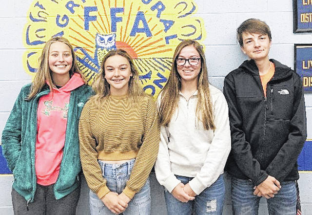 On Oct. 12, four members of the McClain FFA Chapter competed in the state urban soils judging contest and placed eighth out of 48 teams. The members of the team include Caleb Cook, Josie Crabtree, Emalee Montgomery and Cate Willis. At the urban soils contest participants are required to shoot slope, determine the soil drainage, depth of restrictive features, depth of bedrock, and determine soil texture of the surface, subsoil and substratum soil. Participants are also required to know when and how to apply best management practices to the soil.