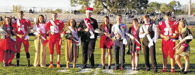 This picture shows the 2019 Hillsboro homecoming court, from left sophomore attendants Breanna Karnes and Cameron Roberts, senior attendants Josie Hopkins and Brock Haines, homecoming queen Assia Patrick and homecoming king Caleb Crawford, senior attendants Karleigh Hopkins and Ben Sowders, junior attendants Stephanie Patton and Nick Lewis, and freshman attendants Bryce Parsons and Brooke Ulicny.