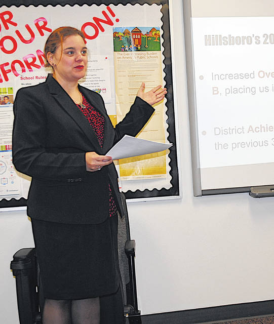 Curriculum specialist Alicia Sellins gives a report Monday to the Hillsboro City Schools Board of Education.