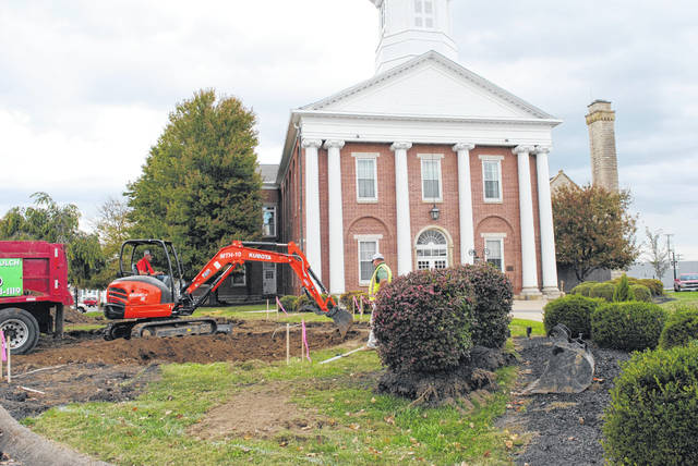 Construction for a fountain in uptown Hillsboro is underway. A crew and heavy machinery appeared in Courthouse Square on Oct. 17. As previously reported in The Times-Gazette, the Highland County Commissioners approved a contract between the county and the city regarding the new fountain in August 2018. The fountain is funded by the Bagshaw family as a gift to the City of Hillsboro and Highland County. As of Sept. 5, 2019, a representative of the Bagshaw family stated that the fountain would cost $100,000 to construct. A previous estimate in June 2019 placed the completion of the fountain in September. The Times-Gazette reached out to former Hillsboro Safety and Service Director Mel McKenzie, who interim Safety and Service Director Dick Donley said is overseeing the project and representing the Bagshaw family, for an updated estimate for the completion of the fountain, but at press time, McKenzie hadn't responded.