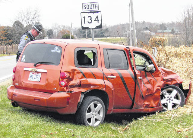 Four people were transported to Highland District Hospital by following a two-vehicle crash Tuesday afternoon at the intersection of SR 131 and SR 134. Trooper Todd Stevens of the Ohio State Highway Patrol Wilmington Post said the injuries were described as minor and non-life threatening. He said a 2005 Dodge Dakota driven by Tony North, of Sardinia, was southbound on SR 134 when it was struck by a 2007 Chevrolet HHR that was westbound on SR 131. The driver of the HHR failed to obey the stop sign at the intersection, causing the crash. Stevens said. Both vehicles sustained severe damage, with the Dodge Dakota stopped at the intersection, and the force of the collision causing the HHR to come to a rest approximately 300 feet south of the impact. Stevens that since the driver and passenger of the HHR were juveniles, their names would not be released. Traffic at the intersection was reduced to one lane for about 45 minutes following the accident. Stevens said no citations had been issued pending completion of the investigation.