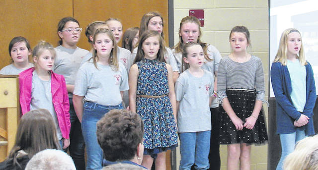 Members of the Fifth Grade Honor Choir, composed of students from Buckskin and Rainsboro elementaries, are pictured during their performance at Monday's Greenfield Board of Education meeting.