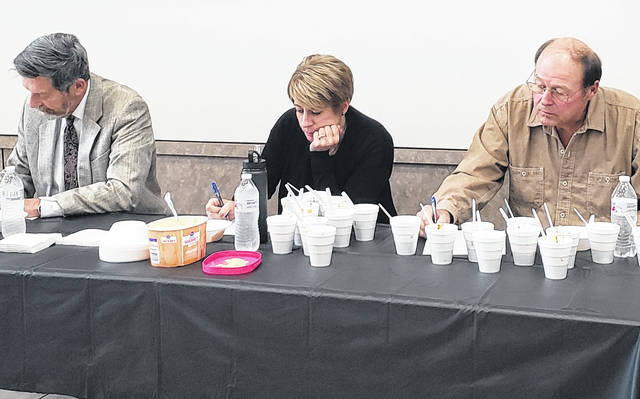 Judges for the inaugural Highland County Sheriff's Office Chili Cook-off were, from left, David McKenna, Katie Adams and David Daniels.