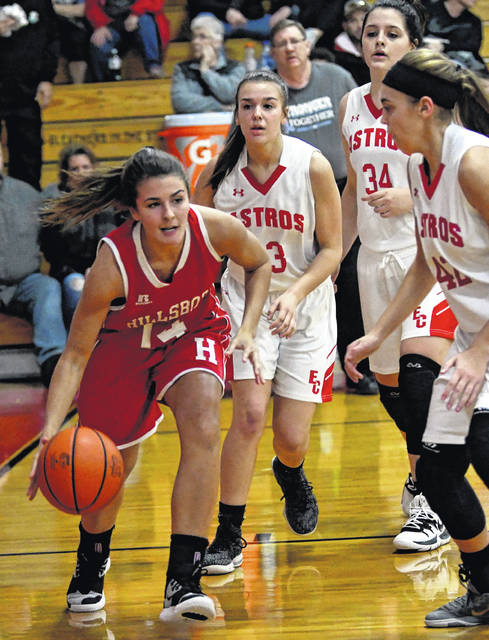 Hillsboro Lady Indians Josie Hopkins driving to the hoop shown in the photo above