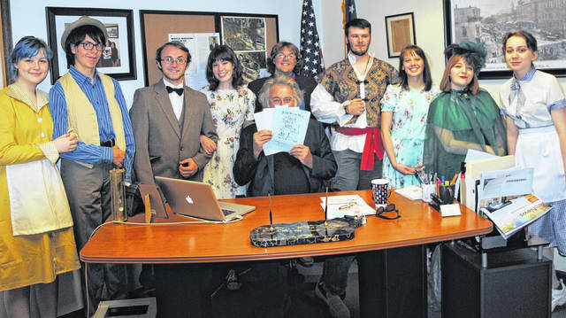 "Hillsboro Mayor Drew Hastings welcomed the cast of the Hillsboro High School class play ""You Can't Take It With You"" to his office Wednesday. The performance will be Nov. 15, 16 and 17, with show times Friday and Saturday at 7 p.m. and Sunday at 3 p.m. Shown from left are Autumn Koehler, Christopher Cronan, Duncan Pickering-Polstra, Weslie Wilkin, Hastings, Gideon Pickering-Polstra, Michael Ferguson, Nyssa Reno, Aubree Vance and Hanna Ater. Tickets are $5 for students and $7 for adults."
