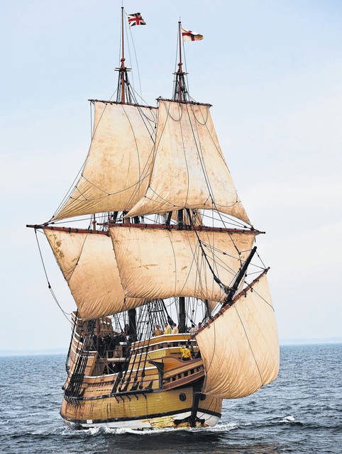 Mayflower II, under full sail with fair winds and calm seas, is shown as it appeared in 2014 prior to going into dry dock for restoration in November 2016. Kate Shehan of Plimoth Plantation told The Times-Gazette that the newly restored ship will return to Massachusetts in May 2020.